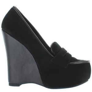 Leather Jeffrey Campbell platform work wedges